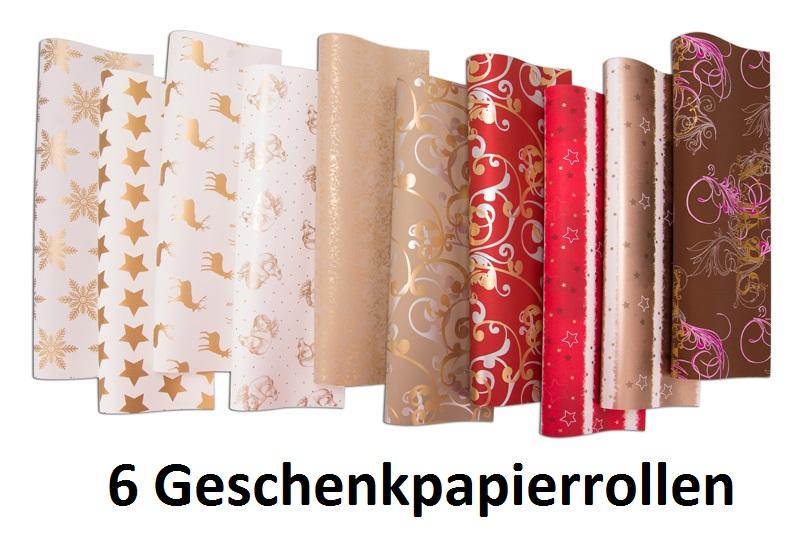 1 oder 5 Rollen Geschenkpapier 2 x 0,70m Weihnachtspapier Weihnachten wählbar