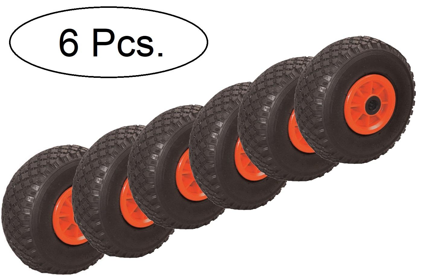 4x Lenkrolle Luftrad 260mm x 85mm 3.00-4 Luftreifen Rad Nadellager 130kg Reifen