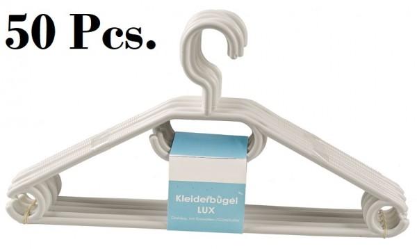 50 Stück Kleiderbügel mit Kravatten- Gürtel- Rock halter drehbar Weiß