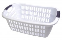 Wäschekorb aus Plastik weiß 55 x 37 x 20 cm