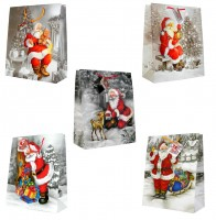 Geschenktüte Weihnachten Weihnachtsmann im Schnee - Groß 32 x 26 x 13 cm
