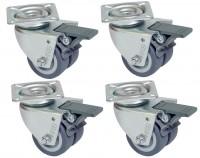 4 Stück Transportrollen, Möbelrollen Lenkrollen mit Bremse 50 mm