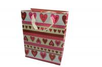 Geschenktüte Herzen gross, Geschenktasche 33,5 x 26 x 13 cm