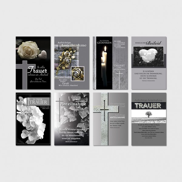 Trauerkarten Beileidsbekundung Anteilnahme Beileid Karten 11,5x17,5 cm