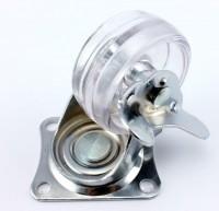 50 mm Lenkrolle Transportrollen, transparent Möbelrollen Laufrollen mit Bremse