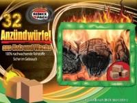 Öko Anzünder, 32 Stück Holz und Wachs Grillanzünder Kohleanzünder