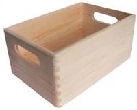 Holzkiste stapelbar, Aufbewahrungsbox Holz, Natur, 8,4 L, 30 x 20,5 x 14 cm