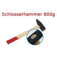 Schlosserhammer Schlosser Hammer mit Stiel aus Holz, 800 g