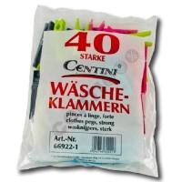 40 Stück Wäscheklammern, 7,5 x 1,3 x 1 cm, farbig sortiert, Polypropylen