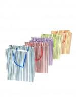 Geschenktüte mit bunten Streifen - Medium 23 x 19 x 10 cm