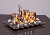 Teelichthalter Set mit Schale und Deko, Teelicht, Kerzenständer