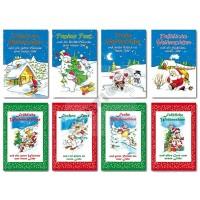 Weihnachtsgrußkarte Comic Stil Schneemann + Weihnachtsmann 11,5 x 17,5 cm