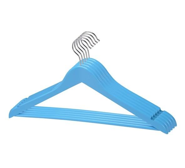 5 Kleiderbügel Anzugbügel Wäschebügel Hemdenbügel Garderobenbügel Holzbügel blau