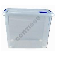 Aufbewahrungsbox Lagerbox Box mit Deckel und Rädern, 80 Liter, 46 x 62 x 45 cm