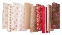 Geschenkpapier Weihnachten verschiedene Motive, Gold 2 x 0,7 m