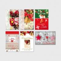 Weihnachtsgrußkarte Kerzen, Glocke, Rentier 11,5 x 17,5 cm