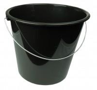Haushaltseimer mit Metallbügel schwarz, 10 Liter, Eimer Putzeimer Wassereimer