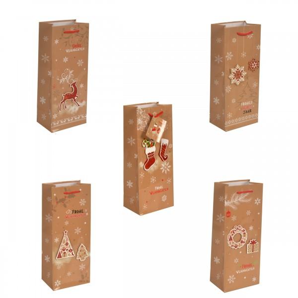 Geschenktüte Flaschentüte Weihnachten Handmade - Jumbo 36 x 13 x 9 cm