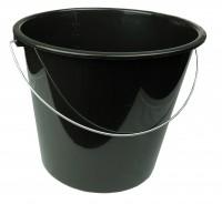 Haushaltseimer mit Metallbügel schwarz, 5 Liter, Eimer Putzeimer Wassereimer