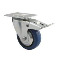 125 mm Transportrollen mit Bremse 150kg Lenkrolle Transportrolle blue wheels