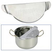 Abgießsieb, Abschüttsieb, Abgießhilfe, Küchenhilfe, Edelstahl, Sieb für Kochtopf