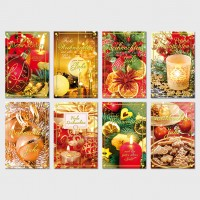 Weihnachtsgrußkarte Weihnachtskugeln, Kerzen, Plätzchen 11,5 x 17,5 cm