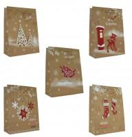 Geschenktüte handmade Applikationen Weihnachten, Gross, 5 Designs 32 x 26 x 13cm