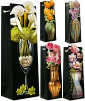 Geschenktüte Flaschentüte Jumbo Handmade Applikationen Motiv Flower 35x12x9 cm