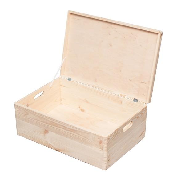 HRB Aufbewahrungsbox 57,6 L, 60x40x24 cm Holzkiste mit Deckel, Weinkiste