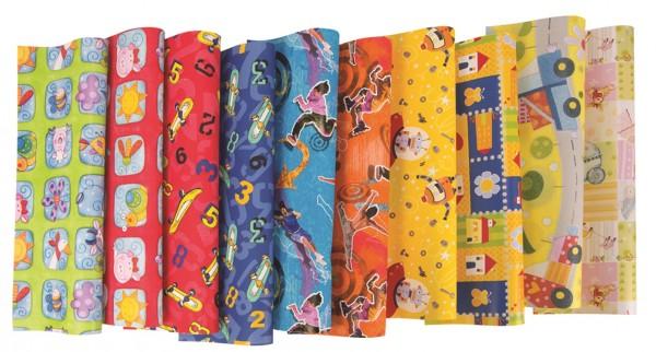 1 Rolle Geschenkpapier 2x0,70m -Kinder, Geschenkrolle Kids MIX,