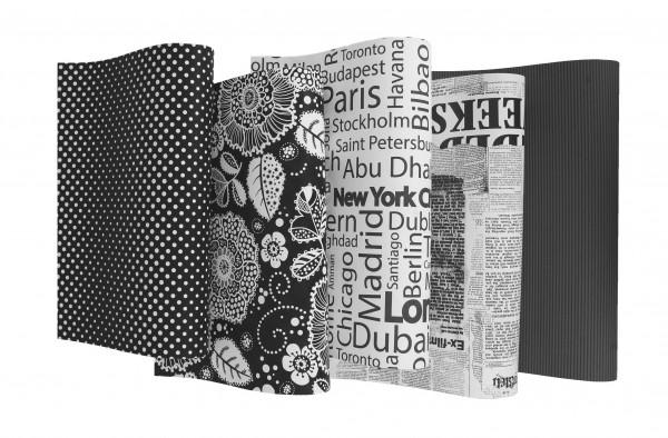 1 Rolle Geschenkpapier Black und White Papier 2m x 0,70m
