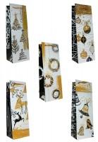 Geschenktüte Flaschentüte Weihnachten Elegant - Jumbo 35 x 12 x 9 cm