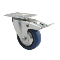 200 mm Transportrolle mit Bremse 350kg Lenkrolle Transportrollen blue wheels