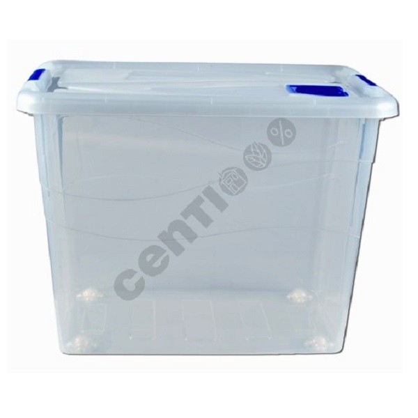 Aufbewahrungsbox, Lagerbox, Box mit Deckel und Rädern, 80 Liter, 46 x 62 x 45 cm