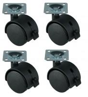 4 Stück 40 mm Möbelrolle, mit Bremse Lenkrolle Transportrolle Stuhlrolle