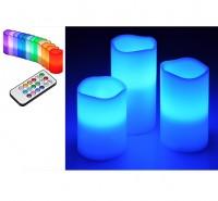 LED Kerzenset 3er LED Kerze elektrisch echtwachs Farbwechsel mit Fernbedienung