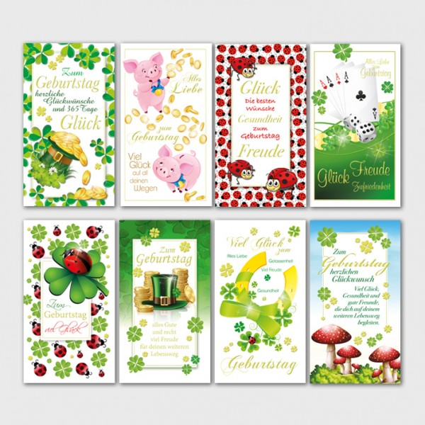 Glückwunschkarten Geburtstagskarten Grußkarten Glück 10x18 cm