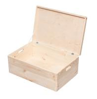 Holzkiste mit Deckel, Aufbewahrungsbox Holz, Natur, 57,6 L, 40 x 60 x 24 cm