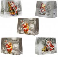 Geschenktüte Schneelandschaft Weihnachtsmann, Querformat - Medium 23 x 18 x 10 c