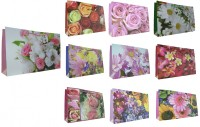 1 Stück Geschenktüte GROSS, Querformat, Blumen / Tiere 38 x 26 x 10 cm