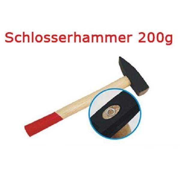 Schlosserhammer 200 g Schlosser Hammer mit Stiel aus Holz