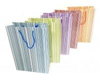 Geschenktüte mit bunten Streifen - Groß 33,5 x 24 x 10 cm