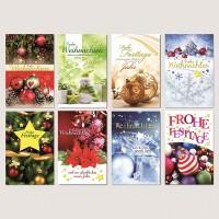 Weihnachtsgrußkarte Weihnachtskugeln, Schneemann, Tannengrün 11,5 x 17,5 cm