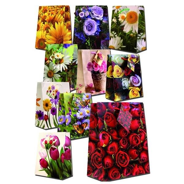 Geschenktüte MEDIUM, Blumen, Geschenktasche 23 x 19 x 9 cm