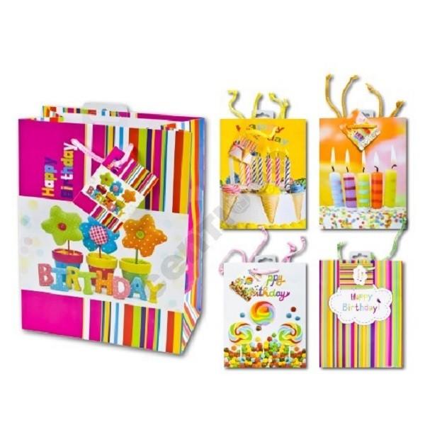 1 Stück Geschenktüte, MEDIUM, Geburtstag, Geschenktasche, 23x18x10 cm