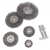 5 Stück Stahlbürste für Bohrmaschine 7 tlg. Set, Drahtbürste Scheibenbürste