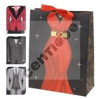 1 Stück Geschenktüte Flaschentüte, DRESS MAN + WOMAN, 23 x 18 x 8 cm