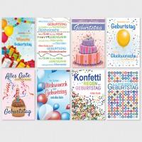 Glückwunschkarte Grußkarte grafische Geburtstagmotive 11,5x17,5 cm