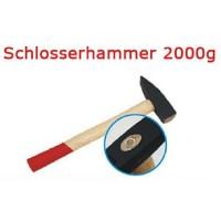 Schlosserhammer Schlosser Hammer mit Stiel aus Holz, 2000g 2kg