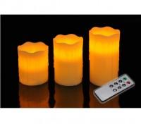 LED Kerzenset 3er LED Kerze elektrisch echtwachs flackernd mit Fernbedienung